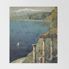 Vintage Taormina Sicily Italian travel ad Throw Blanket