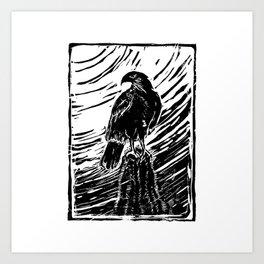 Harris Hawk Woodcut Art Print