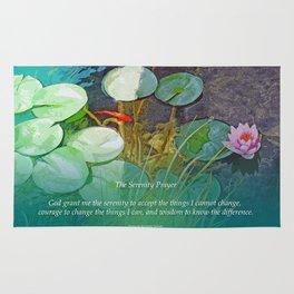 Serenity Prayer Koi Pond Lotus Rug