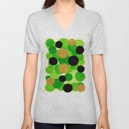 Lime Green Watercolor Bubbles Unisex V-Neck