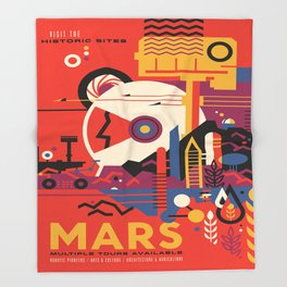 Mars Tour : Space Galaxy Throw Blanket