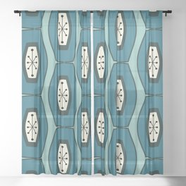 Midcentury Funky Chain Pattern Turquoise Teal Sheer Curtain