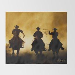 Three Cowboys Western Throw Blanket