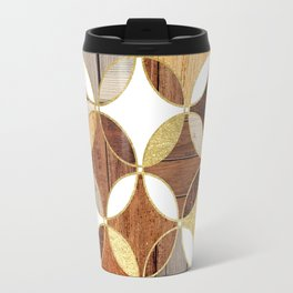 Wood and Gold Geometric Travel Mug
