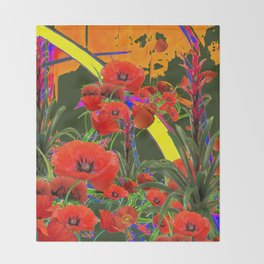 MODERN  ORIENTAL STYLE FLOWERS GREEN GARDEN DESIGN Throw Blanket
