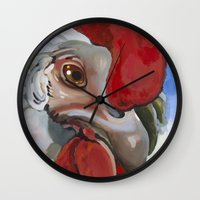 chicken Wall Clocks featuring Chicken by Jeanne Hollington