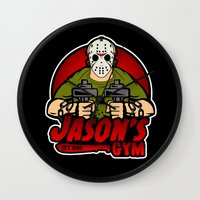gym Wall Clocks featuring Jacon's Gym by Buby87