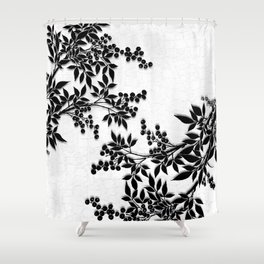 Black And White Leaf Toile Shower Curtain