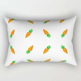 Hand painted green orange watercolor carrots pattern Rectangular Pillow
