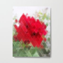 Red Rose Edges Art Triangles 2 Metal Print
