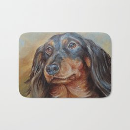 Teckel black and tan Dachshund portrait Cute pet painting Bath Mat
