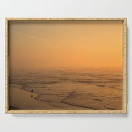 Sunset in the beach of Biarritz Serving Tray
