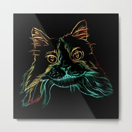 Fluffy Tuxedo Kitty Metal Print