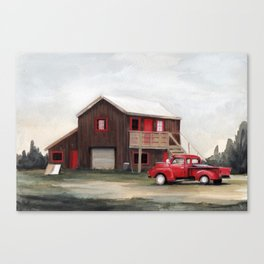 Red house, red truck Canvas Print