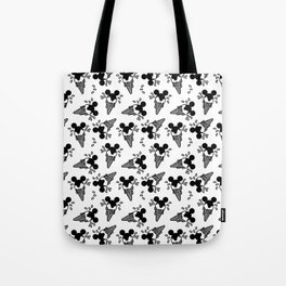 B&W Mickey Icecream Splash Pattern Tote Bag