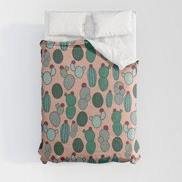 Cactus Design - Pink and Green, Desert Plant Illustration Comforters