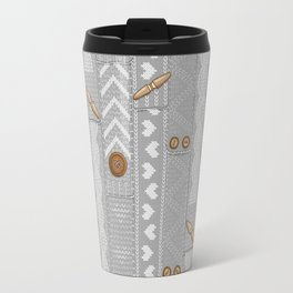 Scarves Knitted Buttoned - Gray Travel Mug