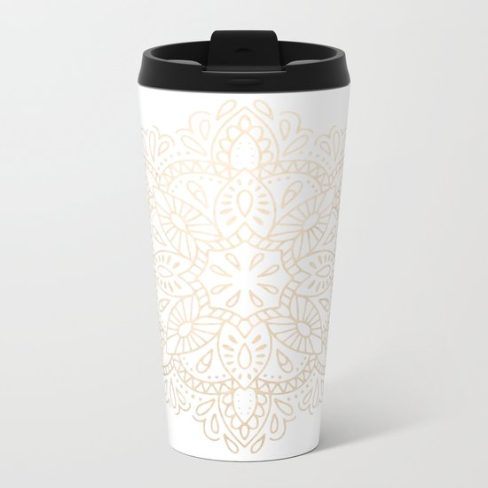 Mandala White Gold Shimmer by Nature Magick Metal Travel Mug