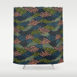 Dashes and dots // abstract pattern Shower Curtain