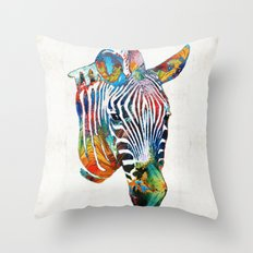 Colorful Zebra Face by Sharon Cummings Throw Pillow