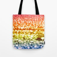 glitter Tote Bags featuring Rainbow Glitter Sparkles by Whimsy Romance & Fun