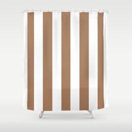 Café au lait brown - solid color - white vertical lines pattern Shower Curtain