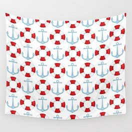 Anchors And Buoys Pattern Wall Tapestry