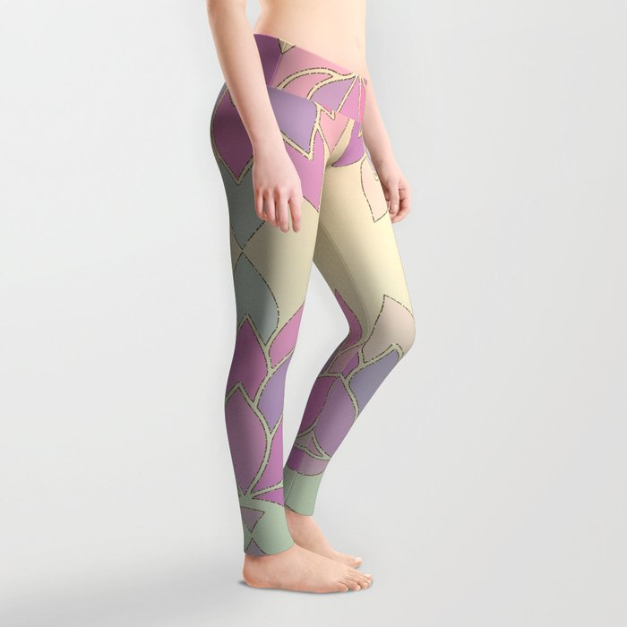 Lotus Flower Pastel Meditation Yoga Symbol Leggings