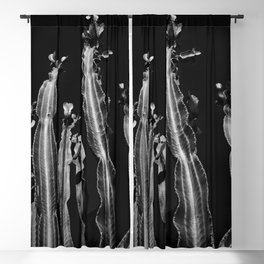 Cactus - black and white Blackout Curtain