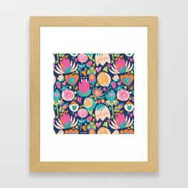Blooming Burst - Navy Framed Art Print