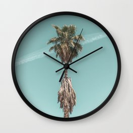 Malibu Beach Palm // California Beach Vibes Teal Ocean Sky Jetstream Photograph Wall Clock
