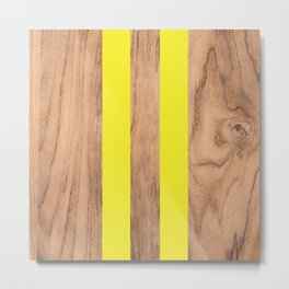 Striped Wood Grain Design - Yellow #255 Metal Print