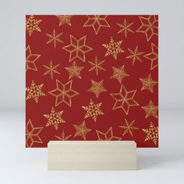 Snowflakes Red And Gold Mini Art Print