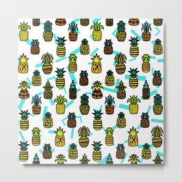 Pineapples Pattern Cute 507 Metal Print