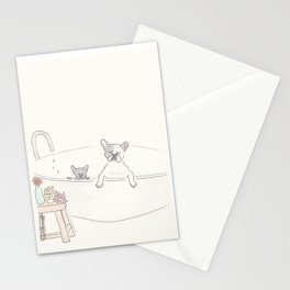 French Bulldogs Bath Time Stationery Cards