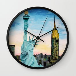 Statue of Liberty with view of NEW YORK Wall Clock