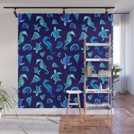 Sea Creatures | Cyan, Navy Blue Marine Animals Pattern Wall Mural