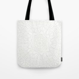 Cream on White Mandala Circle of Life Tote Bag