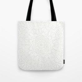 Cream on White Mandala Circle of Life Tote Bag