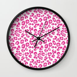 Leopard-Pinks on White Wall Clock