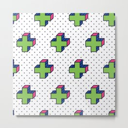 Plus Background in Neo Memphis Style Colorful Decorative pattern Metal Print