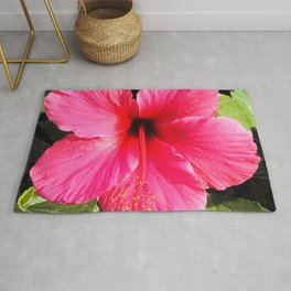 Stunning Red-Pink Hibiscus Flower Exotic Close-Up Rug