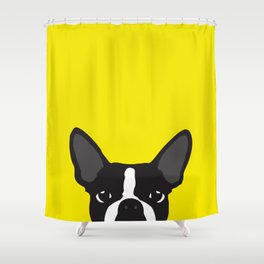 Boston Terrier Yellow Shower Curtain