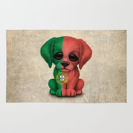 Cute Puppy Dog with flag of Portugal Rug