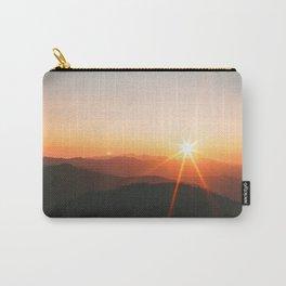 Yellow Orange Mountain Parallax Sunrise Landscape Carry-All Pouch