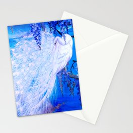 White Peacock at Twilight Stationery Cards