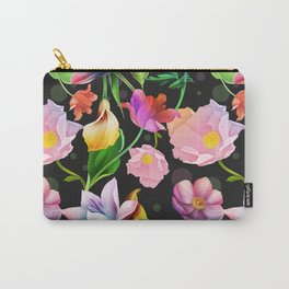 Bold & Bright Colored Tropical Flowers on Black Background Carry-All Pouch