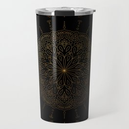 Gold mandala pattern on black background Travel Mug