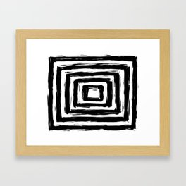 Minimalistic Black and White Square Rectangle Pattern Framed Art Print