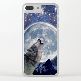 A One Wolf Moon Clear iPhone Case